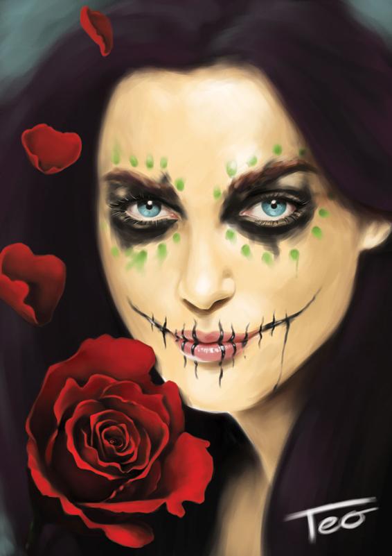 Questo make up (in questo caso molto leggero) viene utilizzato per rappresentare la festività con cui i messicani ricordano i loro cari.